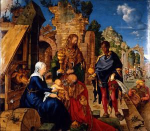 Albrecht Dürer, Klanění tří králů, olej na plátně, 98×111 cm, 1504, Florencie, Galleria degli Uffizi